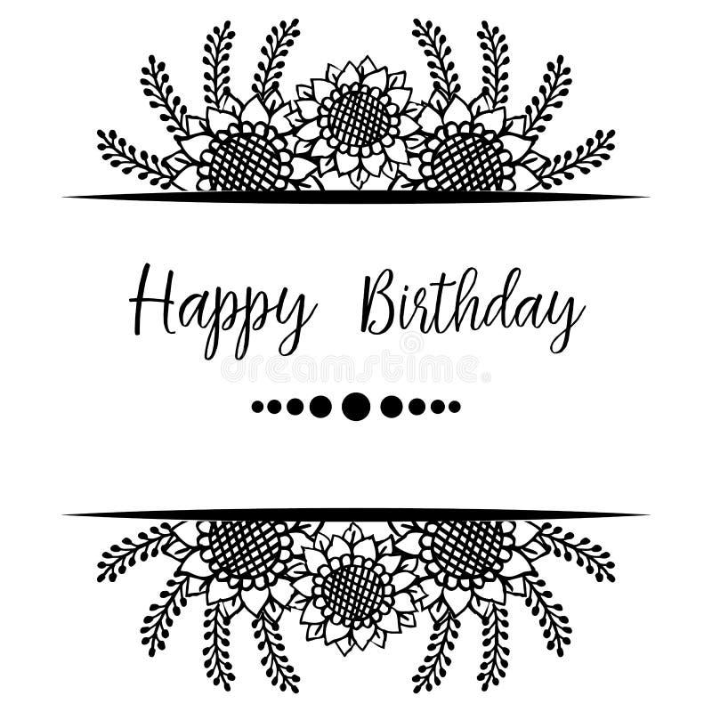 Happy birthday lettering, design greeting cards, elegant wreath frame. Vector. Illustration stock illustration
