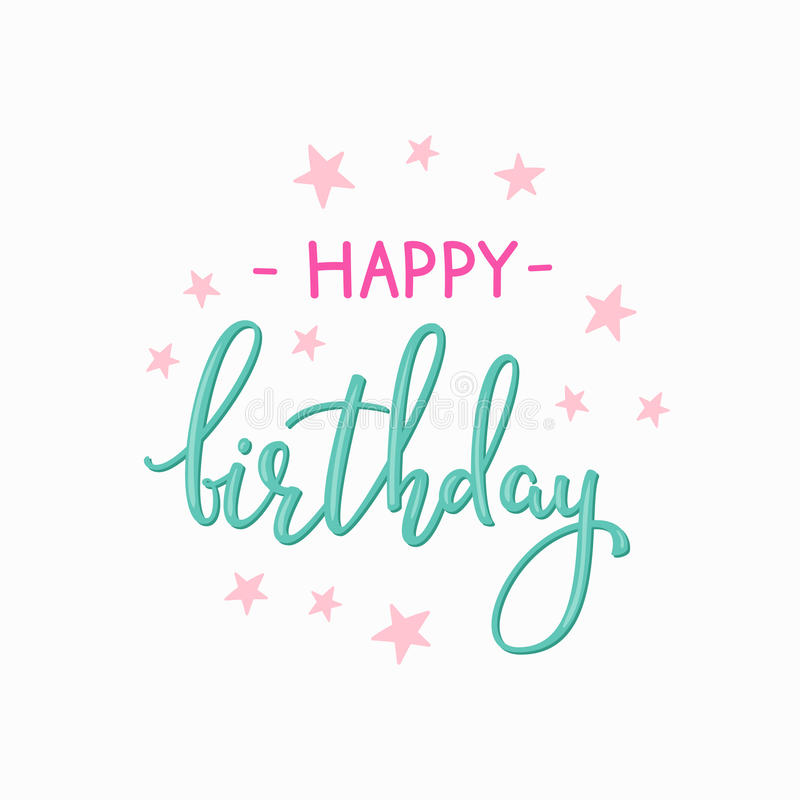 Happy Birthday Lettering Sign Quote Typography Stock