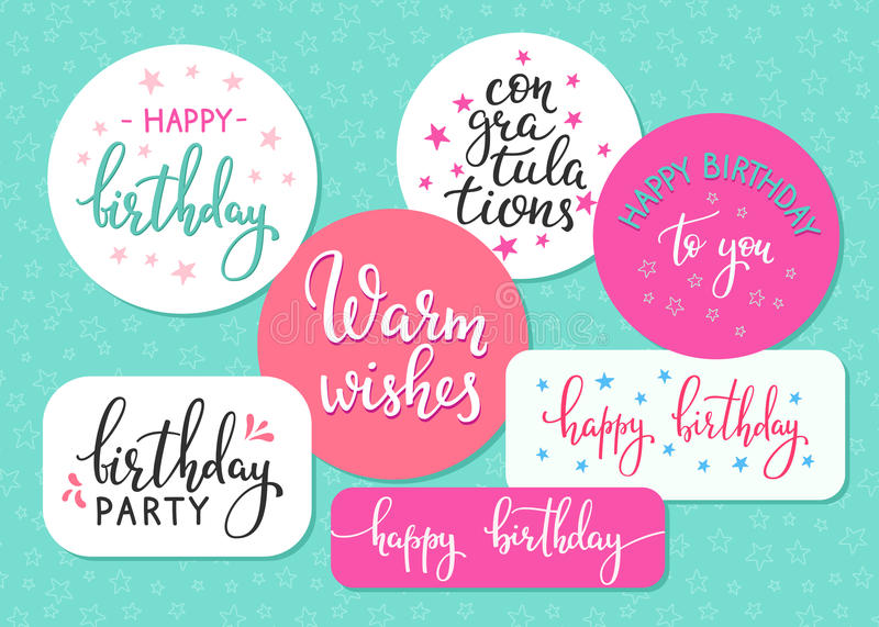 Download Happy Birthday Lettering Sign Quote Typography Set Stock Illustration