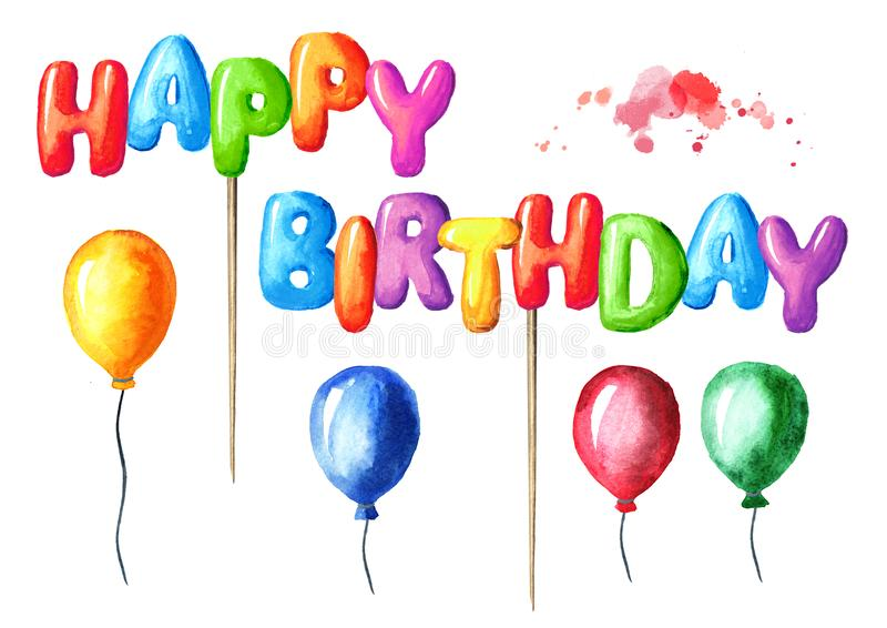 Happy Birthday lettering on a stick design and colorful balloons for greeting cards and posters. Watercolor hand drawn. Happy Birthday lettering on a stick stock photography