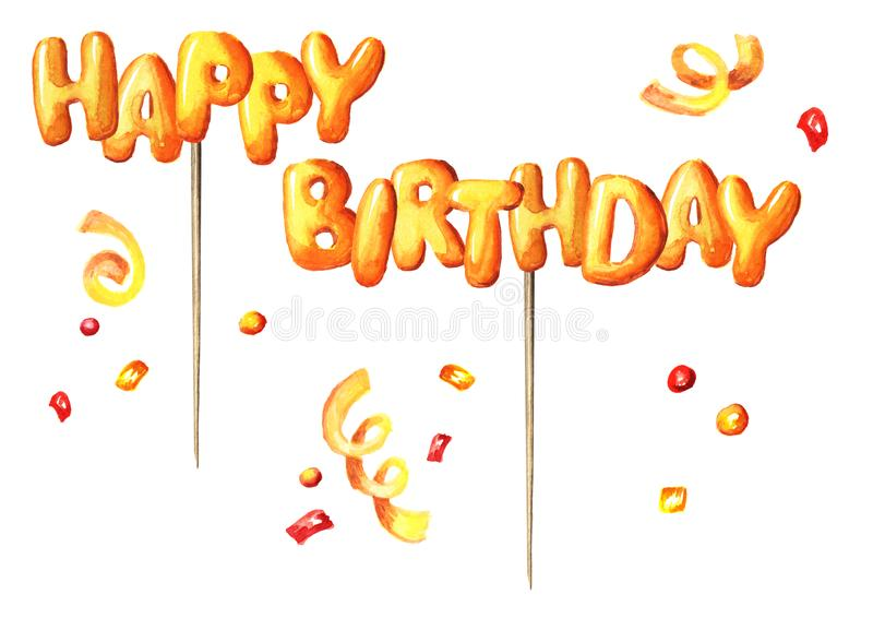 Happy Birthday lettering on a stick design for greeting cards and posters. Watercolor hand drawn illustration, isolated on white. Happy Birthday lettering on a stock images