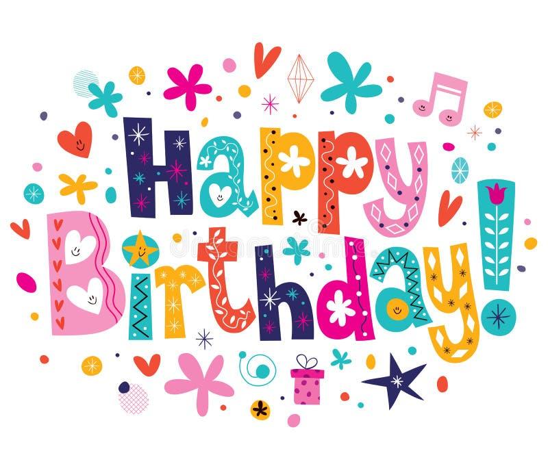 Stock Illustration Happy Birthday Lettering Text Design Image44170612 on Rainbow Border