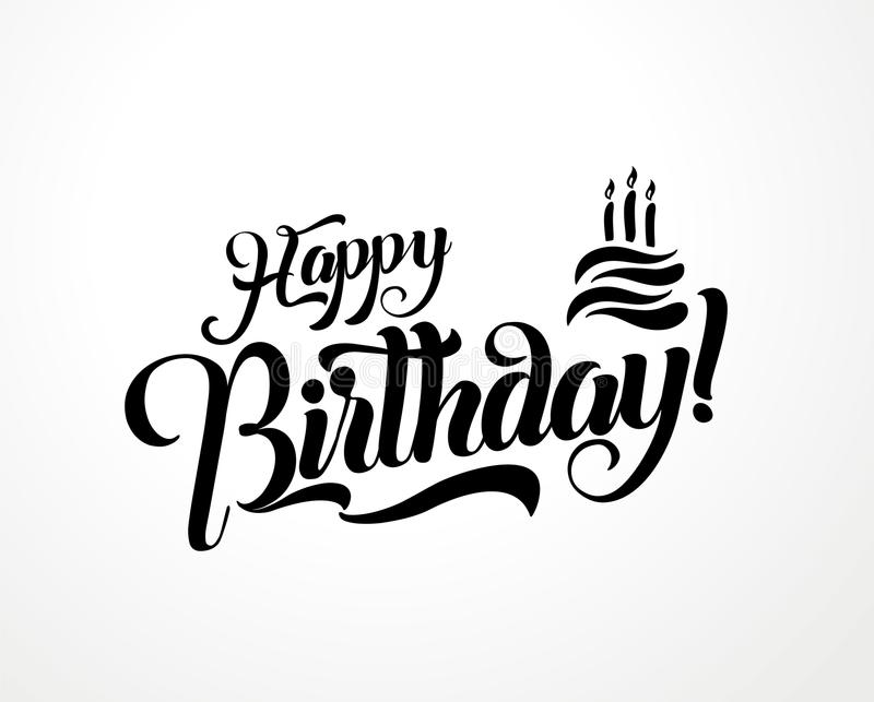Happy birthday lettering text vector illustration. Birthday greeting card design.  vector illustration