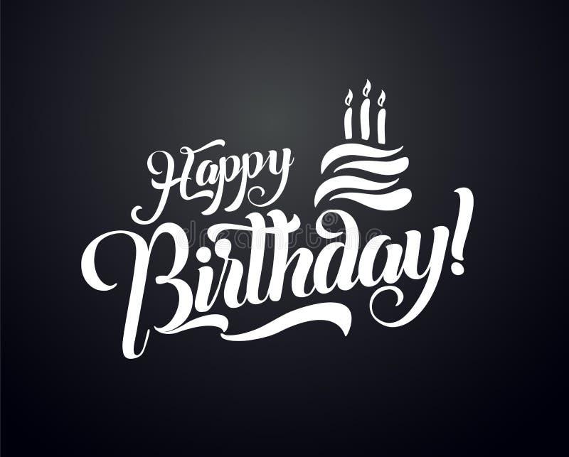 Happy birthday lettering text vector illustration. Birthday greeting card design.  stock illustration