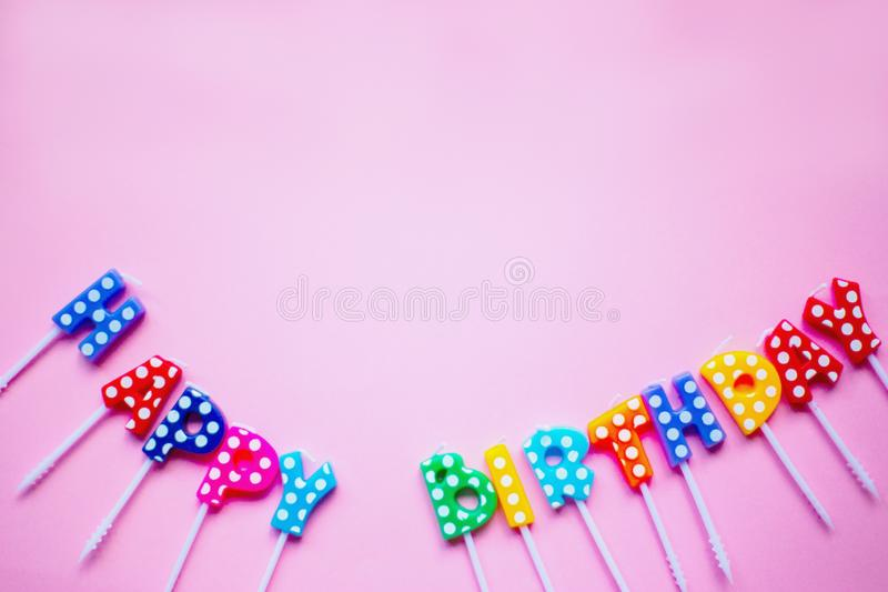 Happy birthday letters in rainbow colors. stock images