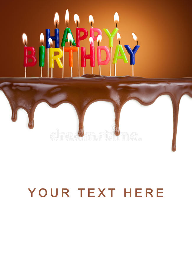 Happy birthday lit candles on chocolate cake stock images