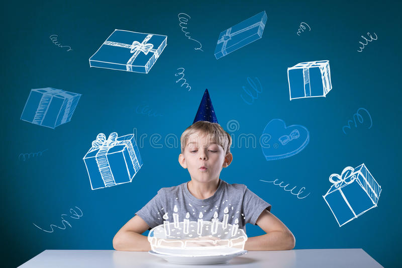 Happy birthday. Little cute boy having a happy birthday royalty free stock photo