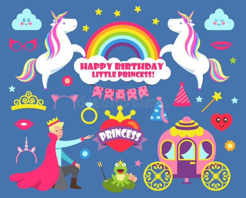 Happy Birthday Little Princess Party Set Vector stock illustration