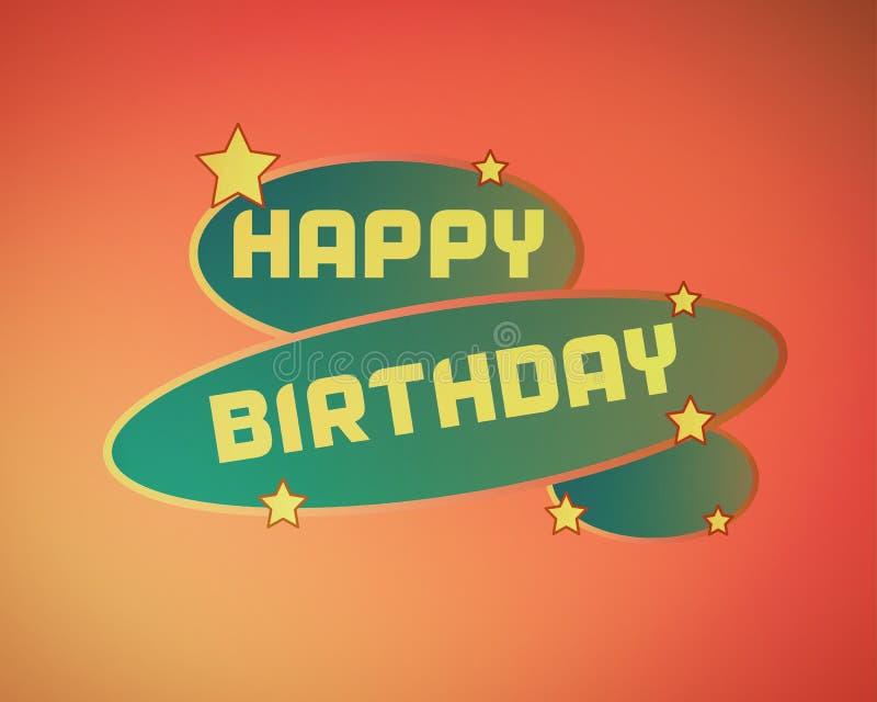 Happy birthday logo design in simple orange gradient color. Happy birthday logo design in simple orange gradient color for gift cards or for printing stock illustration