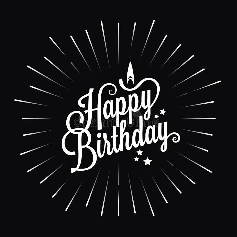 Happy birthday logo star burst design background stock illustration