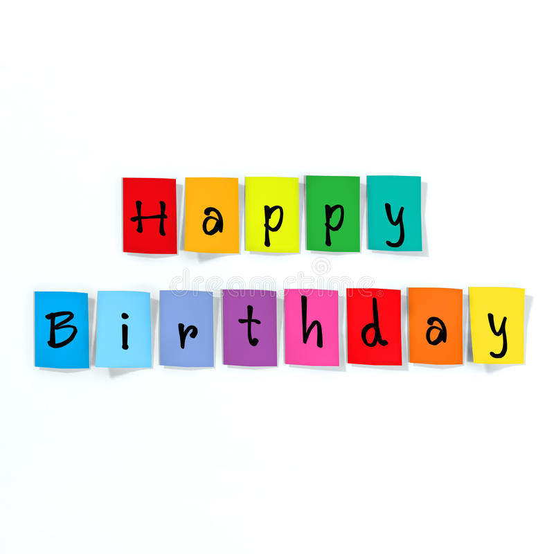 Happy birthday. Made of paper letters royalty free stock image