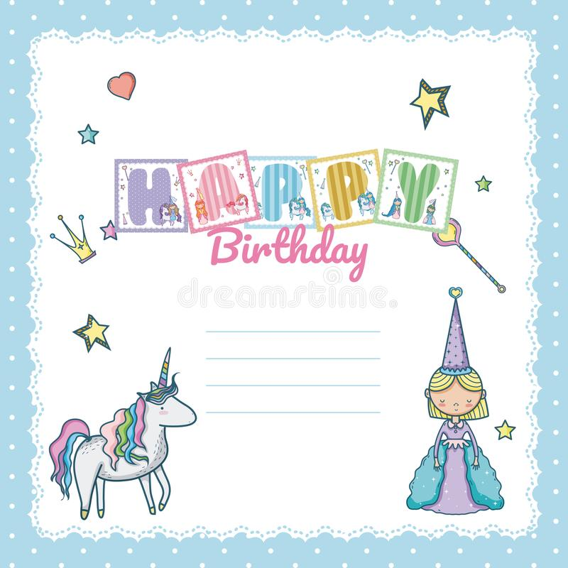 Happy Birthday Card For Little Girl Stock Vector Illustration Of