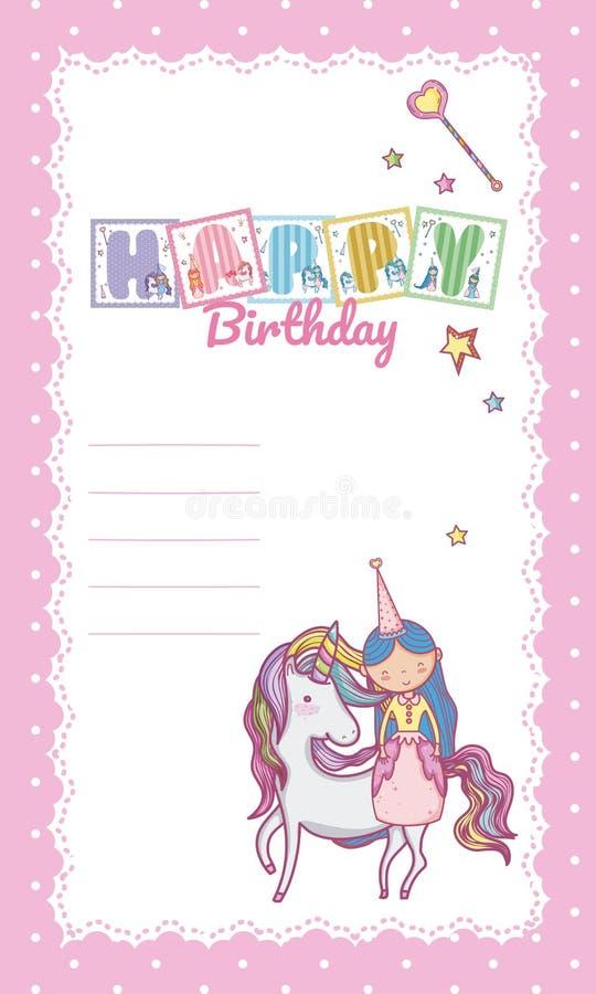 Happy Birthday Card For Little Girl Stock Vector Illustration Of