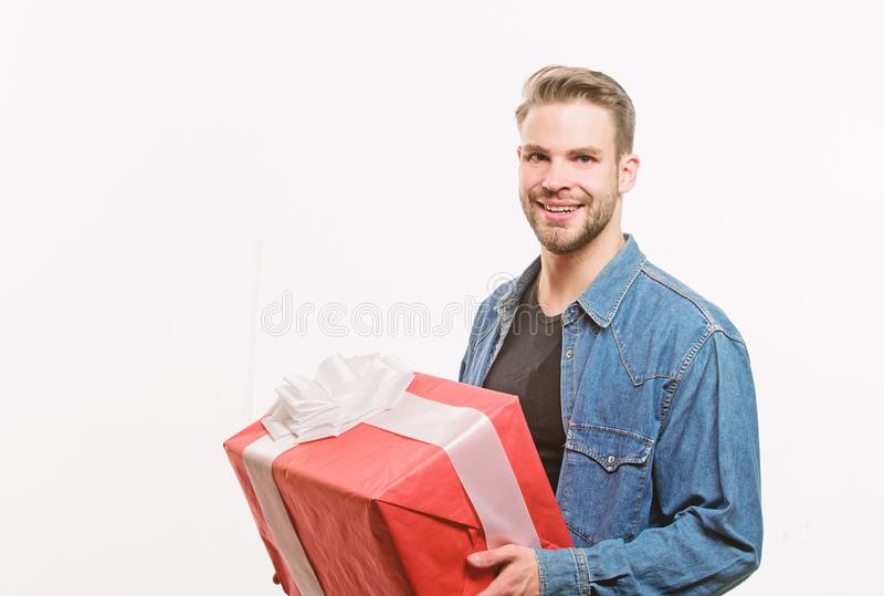 Happy birthday. Man share present. Handsome macho man. Love date. Romantic greeting. Boxing day. unshaven man with. Present box. Valentines day gift. Male stock photos