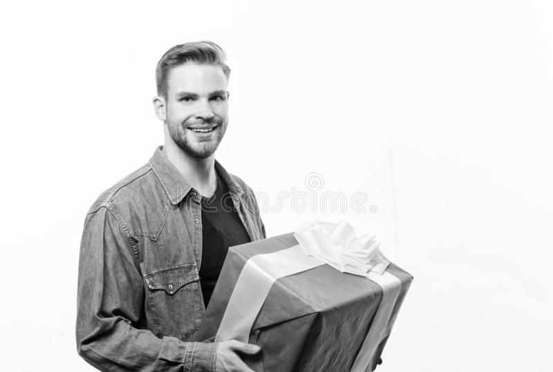 Happy birthday. Man share present. Handsome macho man. Love date. Romantic greeting. Boxing day. unshaven man with. Present box. Valentines day gift. Male stock images