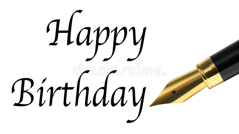 Happy birthday. Message written with golden fountain pen royalty free stock image