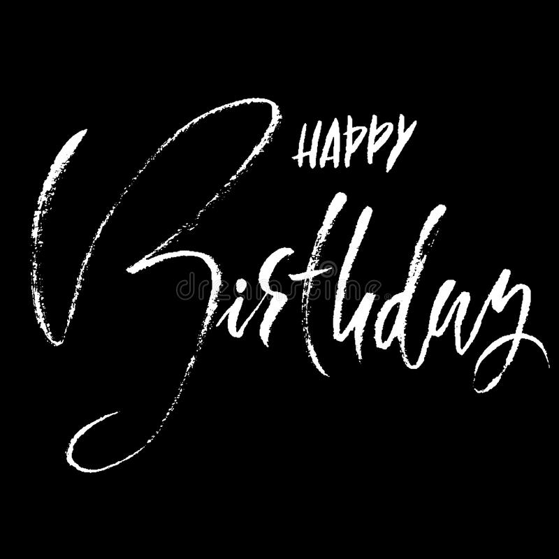 Happy birthday. Modern dry brush lettering for invitation and greeting card, prints and posters. Handwritten inscription. Calligraphic design. Vector stock illustration