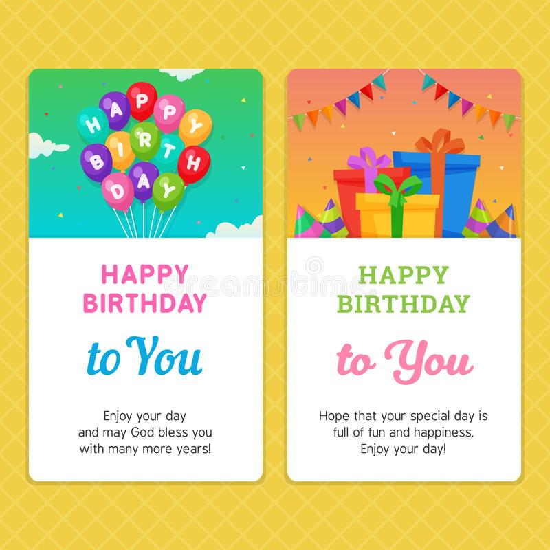 Happy Birthday Modern Invitation Card template with Balloon and Gift Box Illustration. royalty free illustration