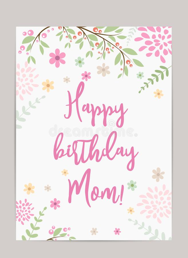 Happy birthday Mom! greeting card. Happy birthday Mom! holiday background. Template for birthday greeting card. Pretty old-fashioned card with abstract flowers vector illustration
