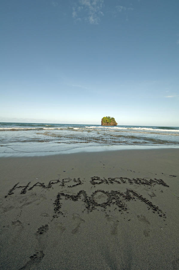 Happy birthday mom. Tropical beach, Costa Rica royalty free stock photos
