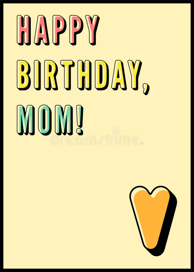 Download Happy Birthday Mom Typographical Vintage Card Retro Vector Illustration Stock