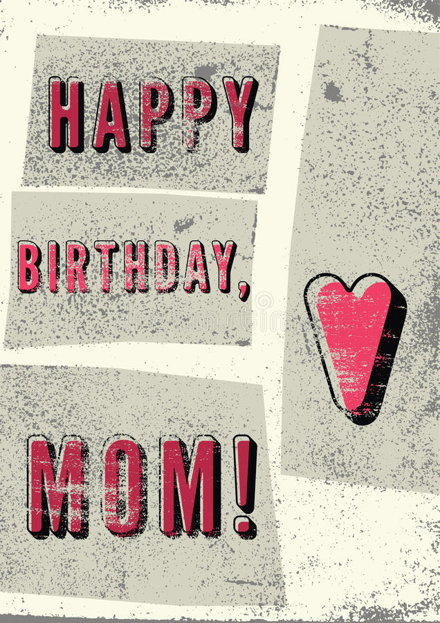 Download Happy Birthday Mom Typographical Vintage Grunge Card Retro Vector Illustration