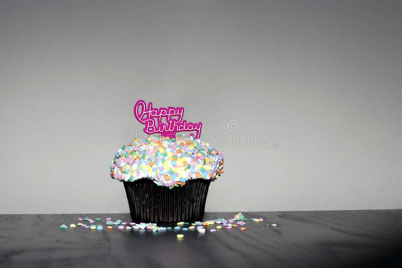 Happy Birthday muffin stock images