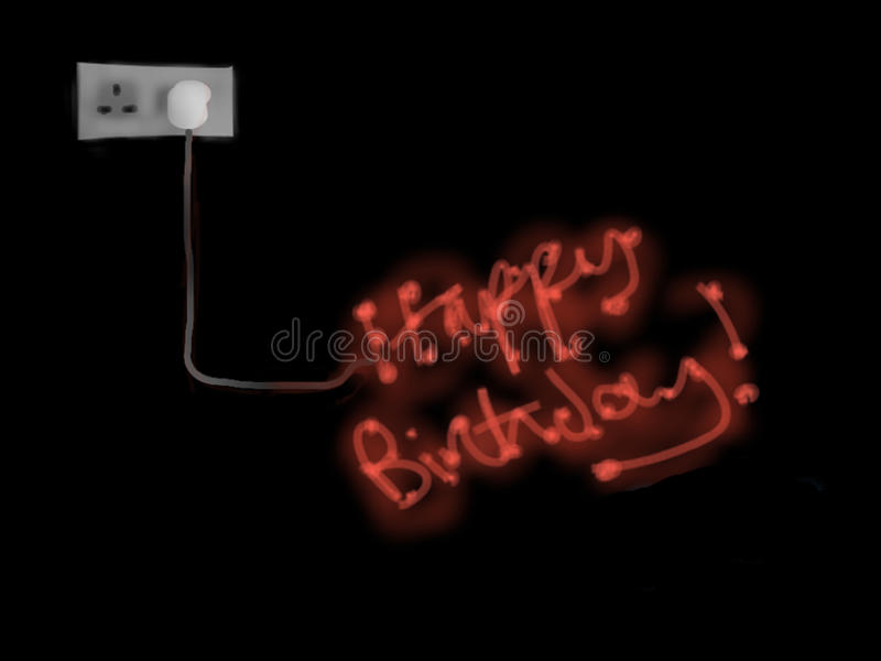Download Happy Birthday Neon stock illustration. Illustration of greetings - 18638256