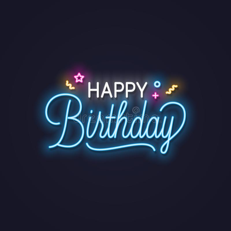 Happy birthday neon sign. Birthday neon banner on wall background. 10 eps