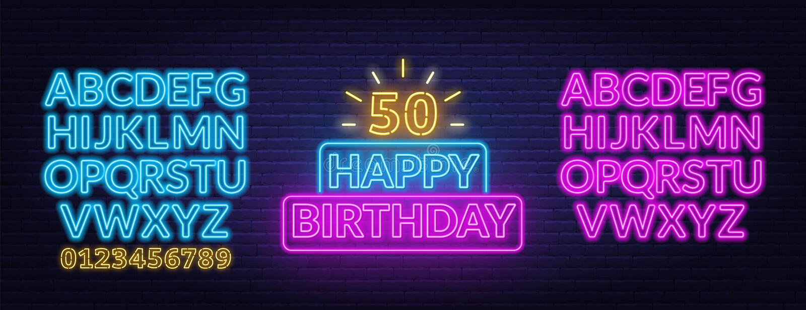 Happy birthday neon sign. Greeting card template on dark background. Vector illustration of EPS 10 vector illustration