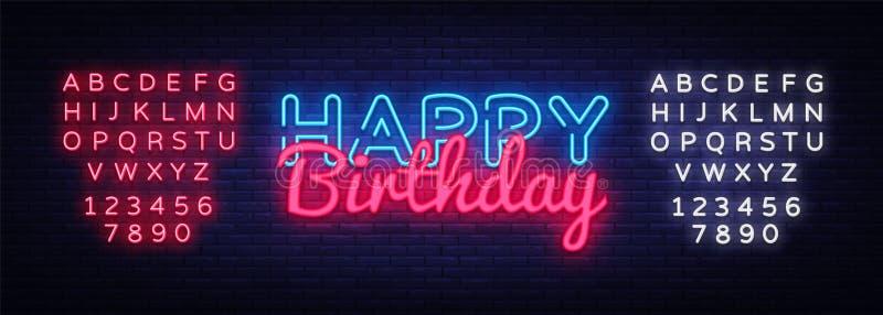 Happy Birthday Neon Text Vector. Happy Birthday neon sign, design template, modern trend design, night neon signboard. Night bright advertising, light banner vector illustration