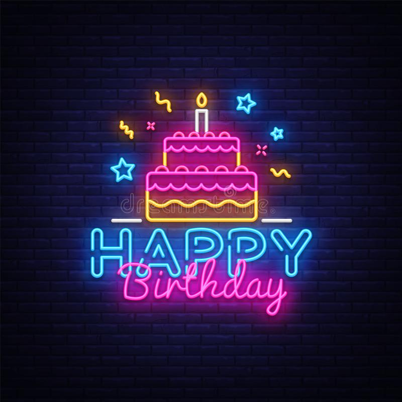 Happy Birthday Neon Text Vector. Happy Birthday neon sign, design template, modern trend design, night neon signboard. Night bright advertising, light banner stock illustration