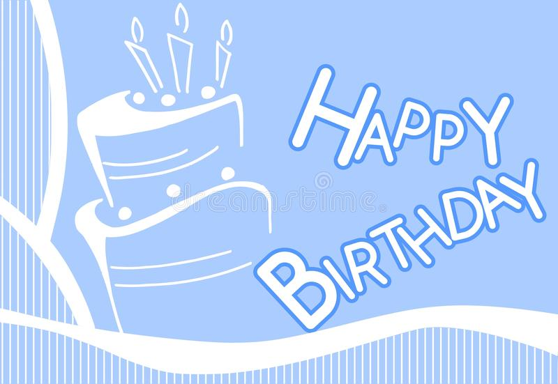 Happy Birthday Greeting Card With Cake In Blue Stock
