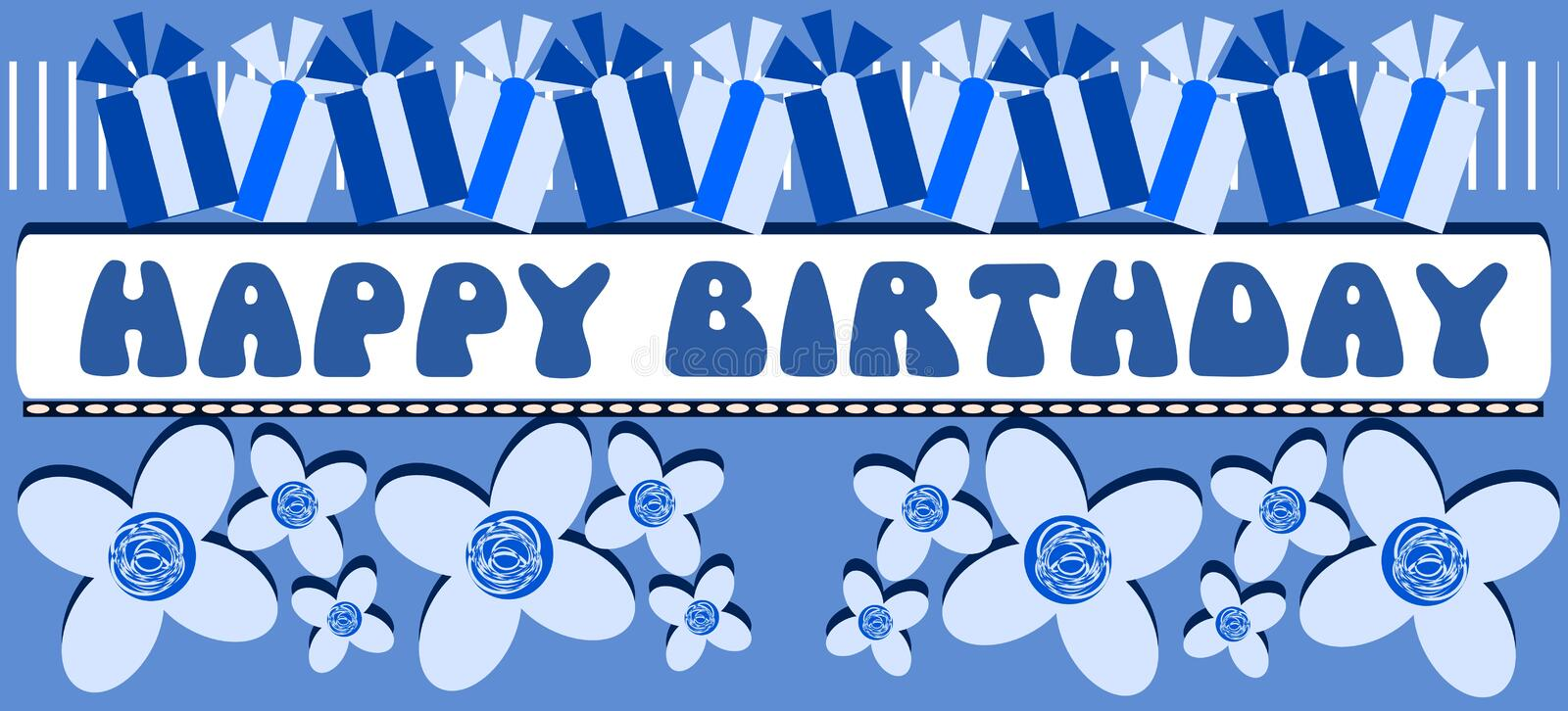 Happy Birthday Greeting Card In Blue Tones Stock