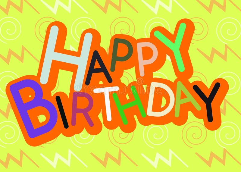 Colorful Happy Birthday Greeting Card Stock Illustration