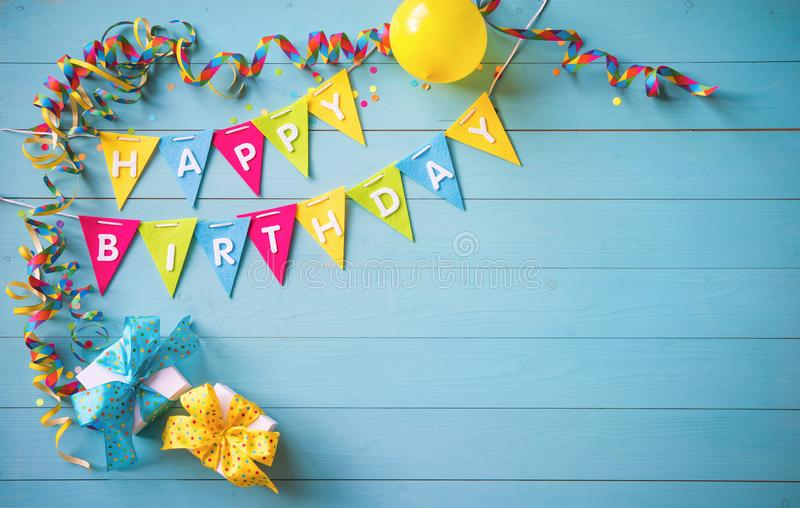 Happy birthday party background with text and colorful tools royalty free stock photos