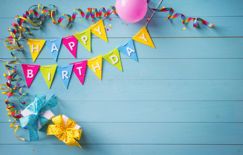 Happy birthday party background with text and colorful tools royalty free stock image