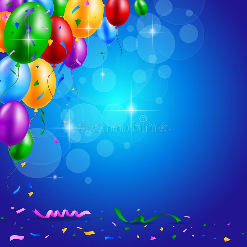 Happy Birthday party with balloons and ribbons background vector illustration