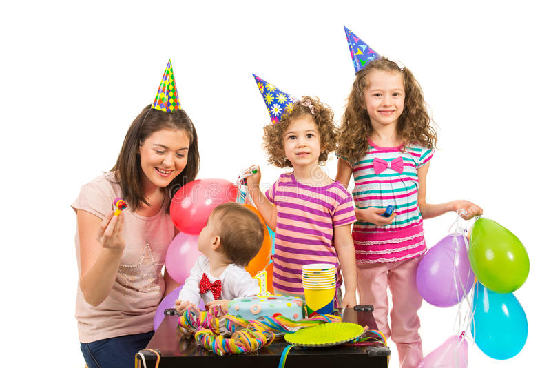 Happy birthday party. Of boy celebrate with cake together with his family stock photo