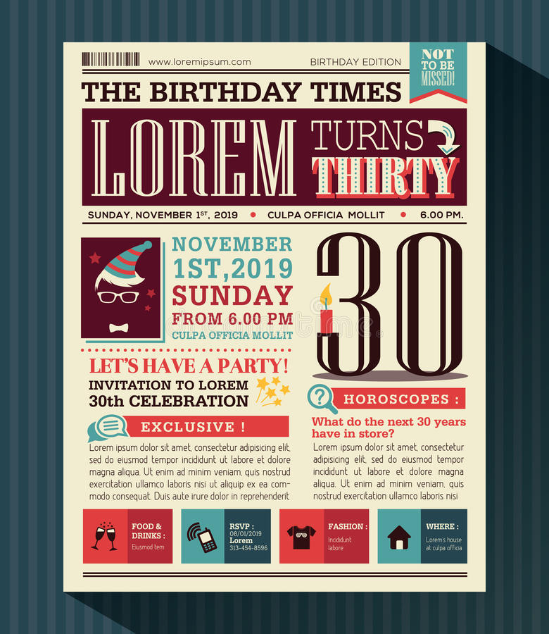 Happy Birthday Party card design layout in newspaper style royalty free illustration