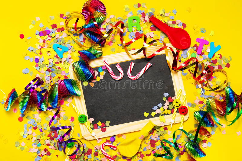 Happy Birthday, Party or Carnival background or Party concept wi. Th fun articles and party accessories, Chalkboard with empty space, view from above. Top view royalty free stock images