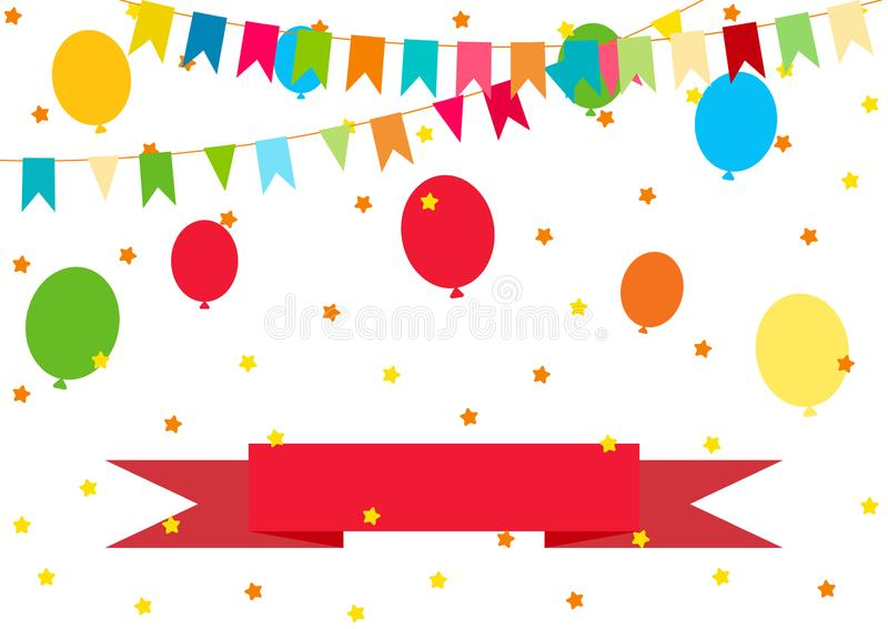 Happy Birthday, Party decor. Vector carnaval colorful pattern. Kids festive background with confetti, paper flags, balloons and ri royalty free illustration