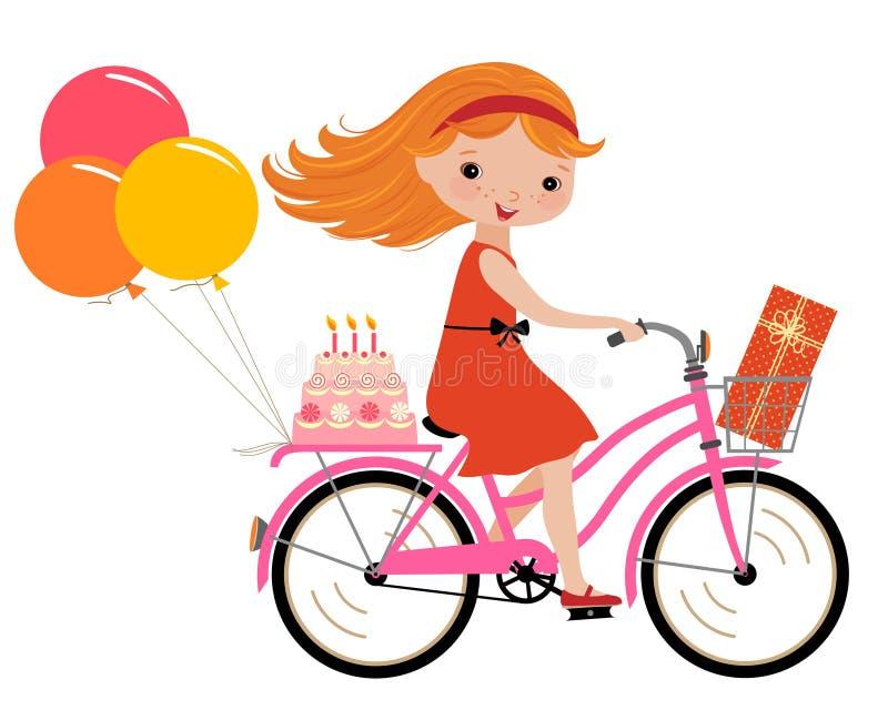 Bike Girls Toys For Birthdays : Happy birthday party stock vector illustration of cycle