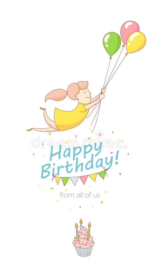 Happy birthday party greeting card invitation funny girl character download happy birthday party greeting card invitation funny girl character flying with balloons line flat bookmarktalkfo Choice Image
