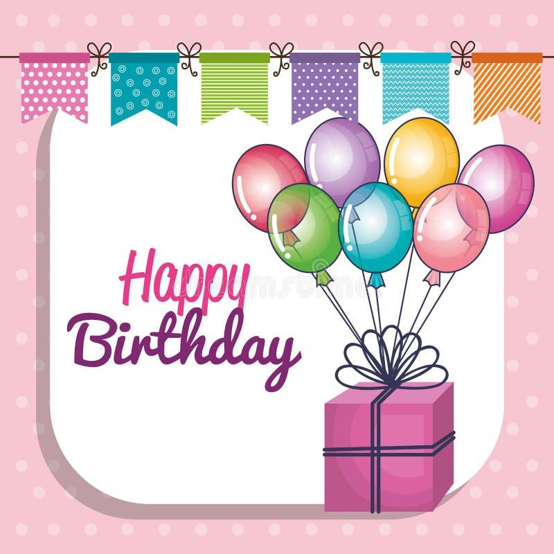 Happy birthday party invitation with balloons air. Illustration design vector illustration
