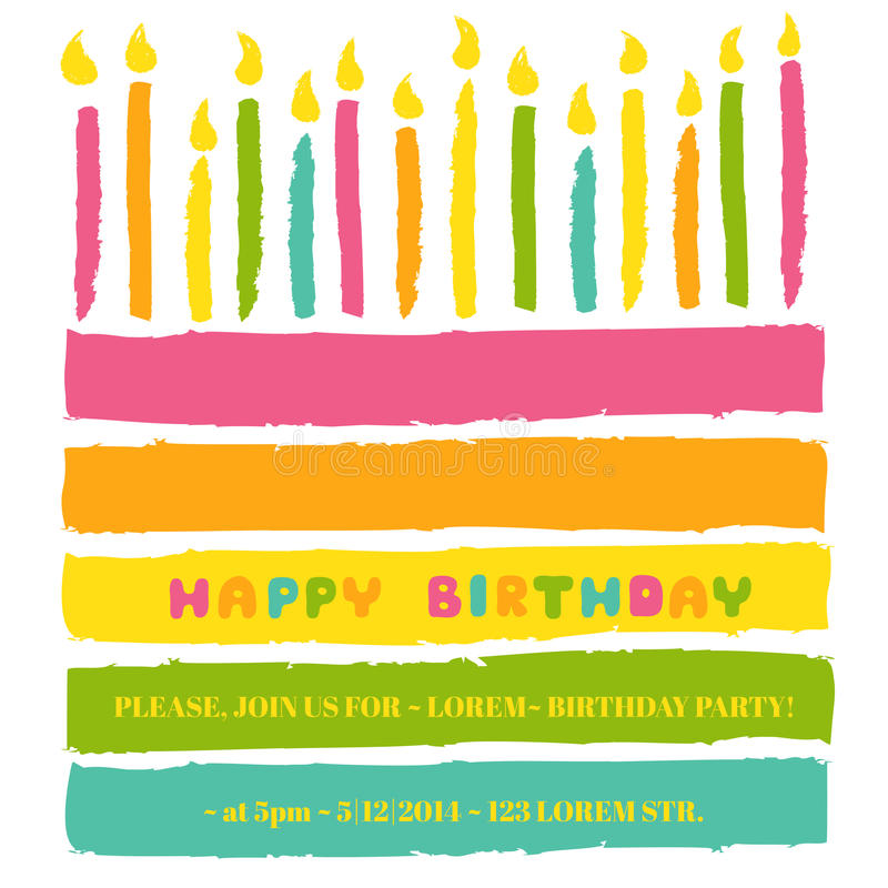 Happy Birthday and Party Invitation Card vector illustration