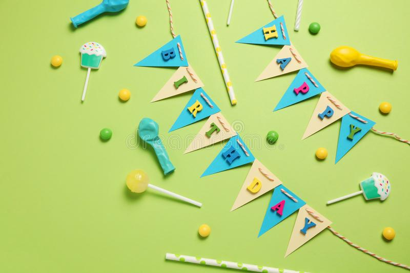 Happy birthday party items, flat lay pattern royalty free stock photography