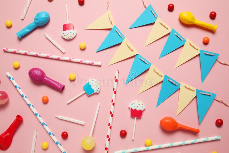 Happy birthday party items, flat lay pattern stock image