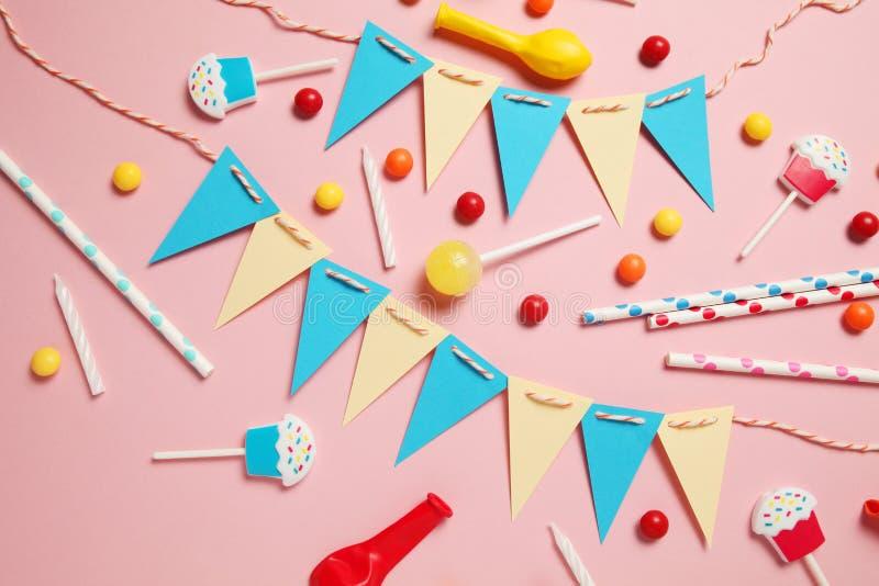 Happy birthday party items, flat lay pattern royalty free stock photo
