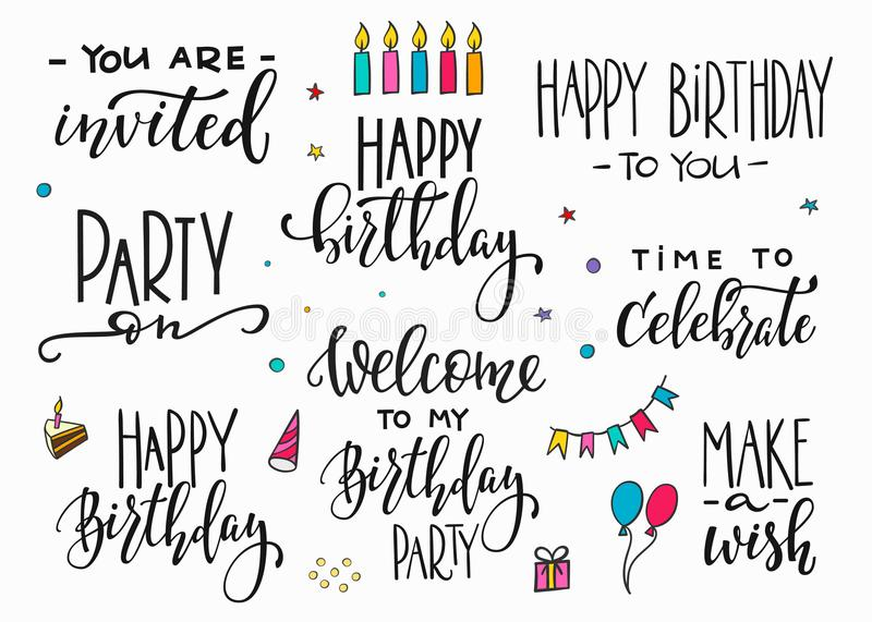 Download Happy Birthday Party Lettering Typography Set Stock Illustration